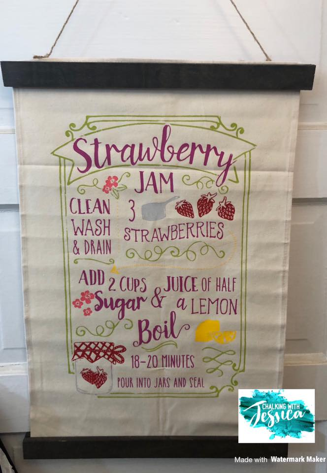 Chalk Couture Strawberry Jam Transfer on Hanging Banner