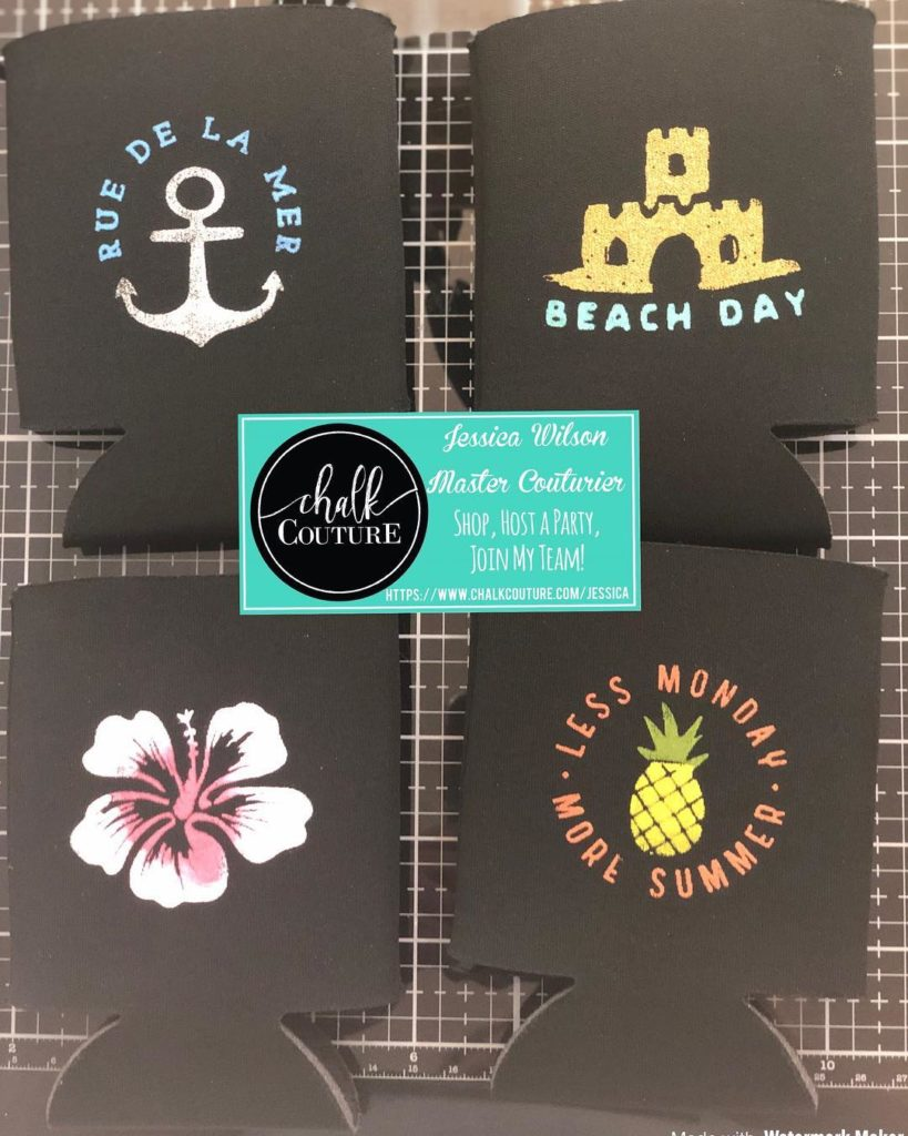 Beach Day Chalk Transfer on can coozies