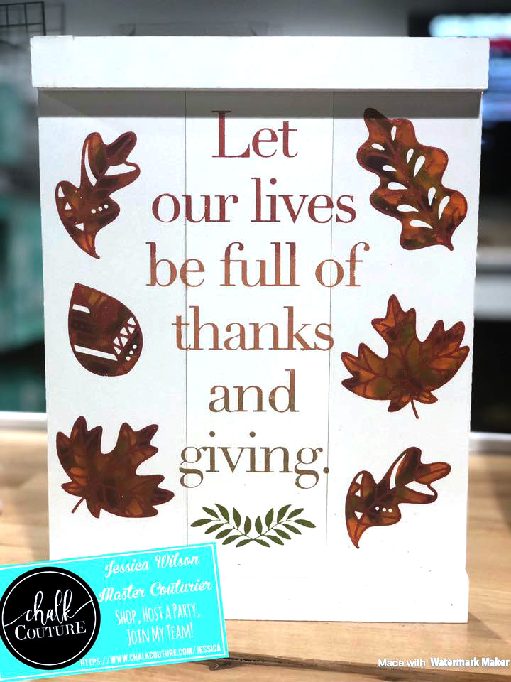 Thanks and Giving chalk transfer on Pallet Board