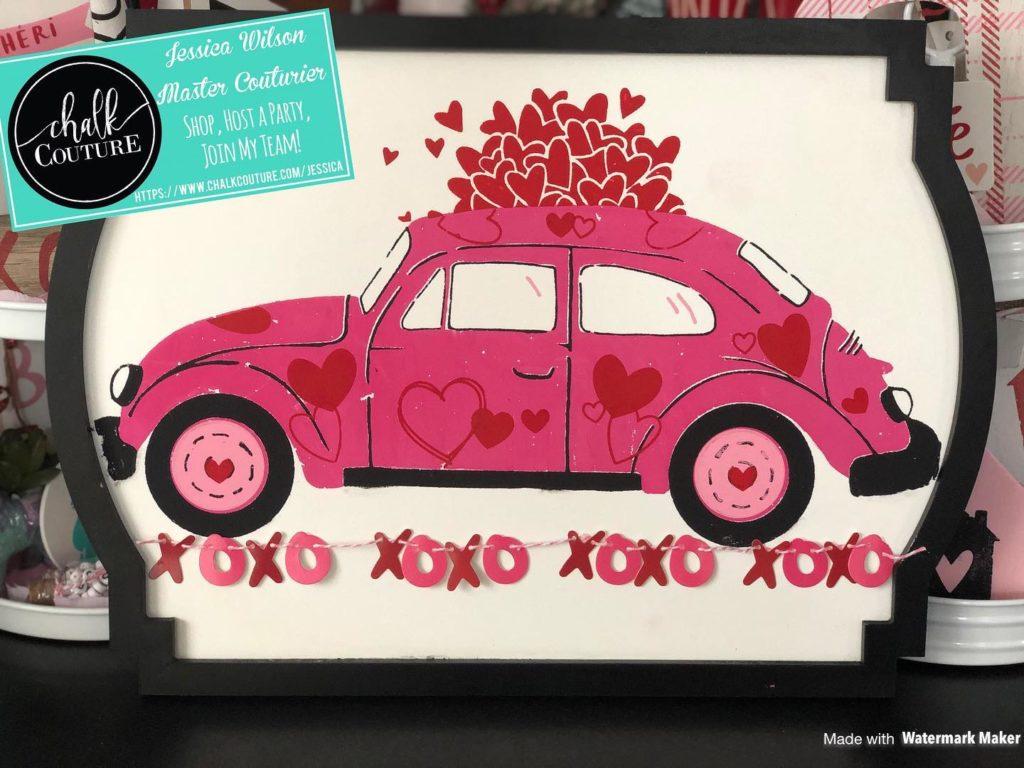 Valentine's Day Vintage Bug Chalk Transfer