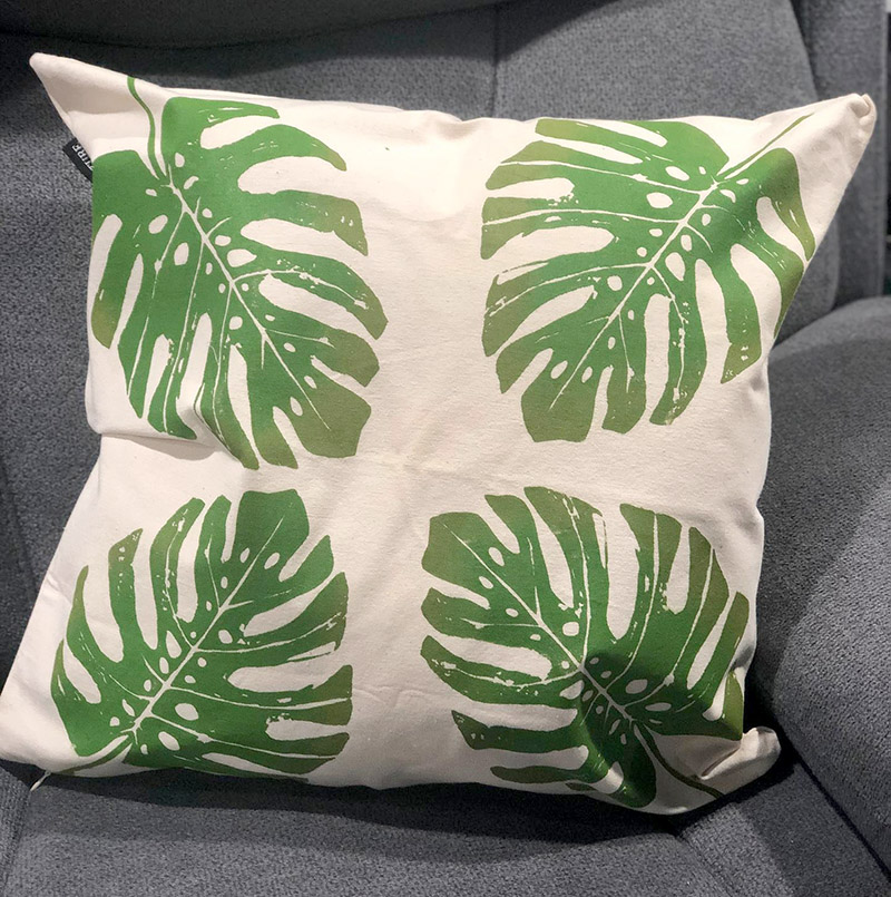 Philodendron Transfer on Pillow