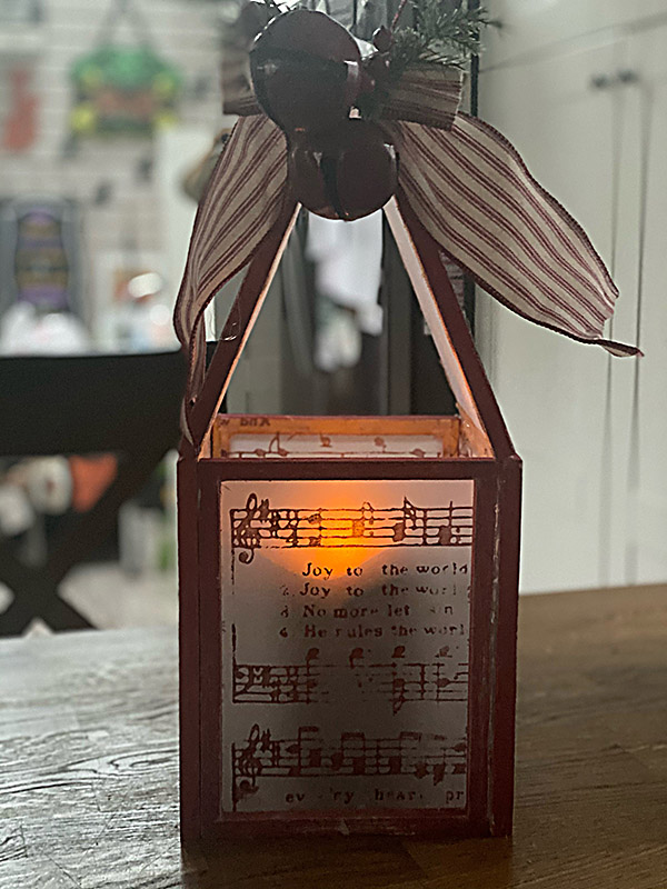 Make a cute Lantern with Joy to the World Transfer and  Dollar Tree Stuff.