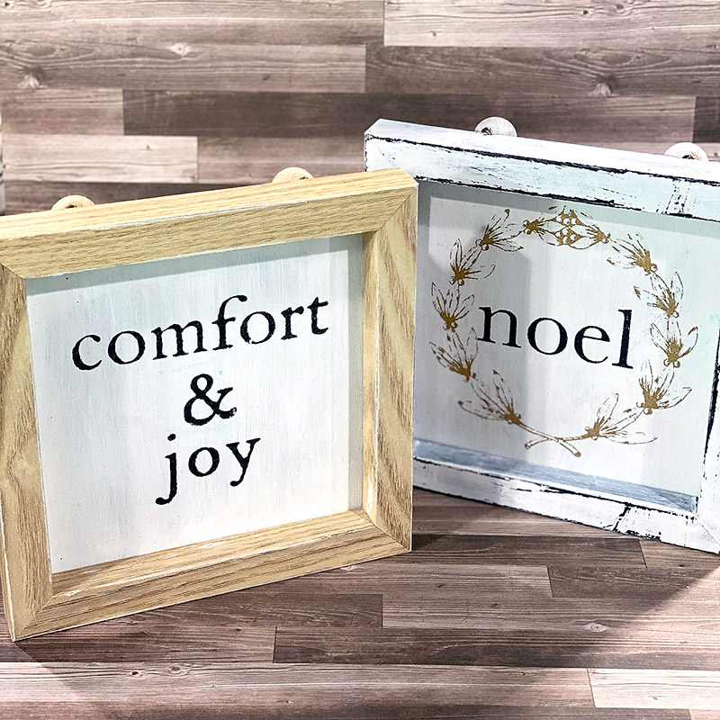 Peace Joy & Christmas Cheer transfer on Dollar Tree frames.