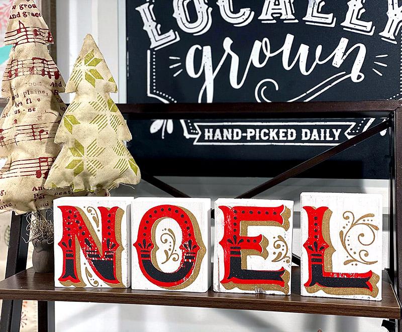 Ornate Noel transfer wood blocks are beautiful!