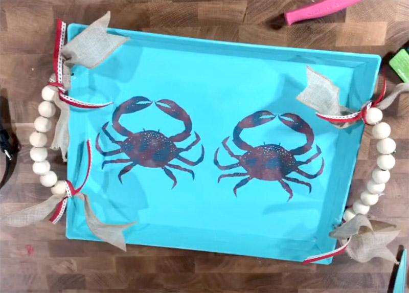 coastal vibe crab design tray with farmhouse bead handles